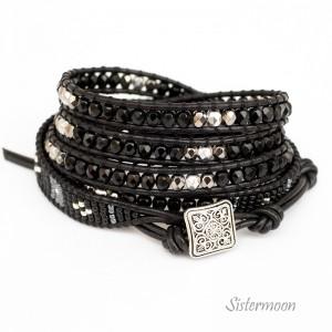 Sparkling Black Czarna bransoletka boho kryształki