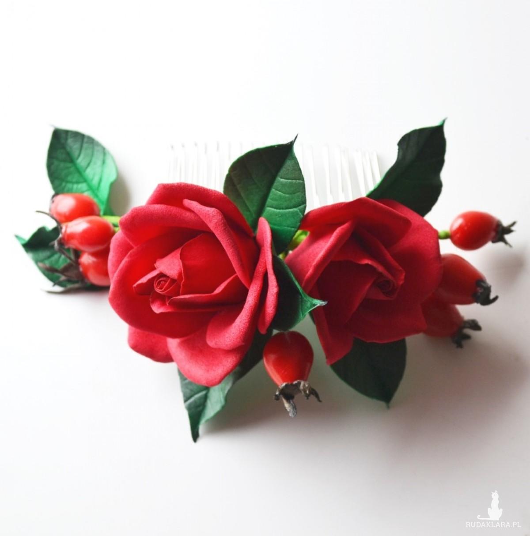 grzebyk do włosów Red roses