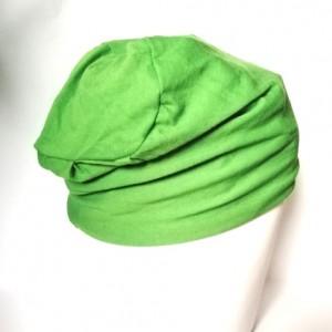 czapka damska zielona handmade na siateczce