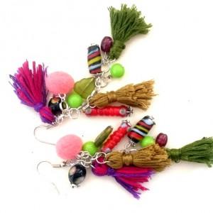 kolczyki handmade z frędzlami etniczne