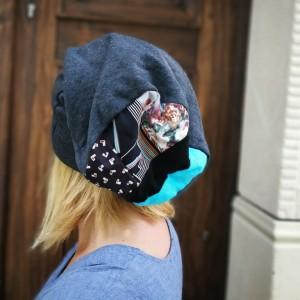 czapka szara grafit dzianina patchwork damska