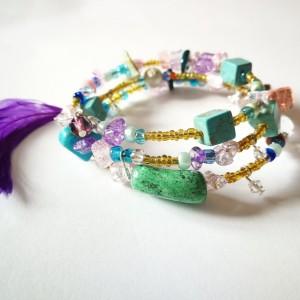 bransoletka duża pióra etno kolorowa boho handmade