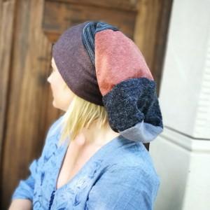 czapka damska patchwork mała dzianina długa