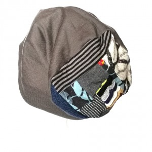 czapka damska miękka patchwork orient dzianina szara handmade