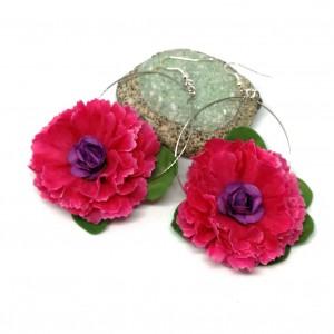 kolczyki kwiaty gerbery flamenco lekkie handmade