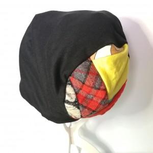 czapka czarna boho dzianina handamade długa dresówka