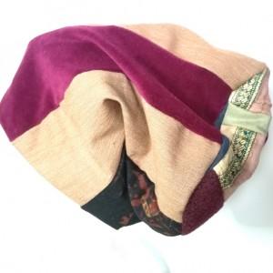 czapka patchworkowa boho tkanina wełna  dzianina handamade długa