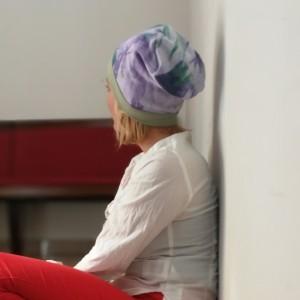 czapka damska dzianina farbowana ręcznie handmade