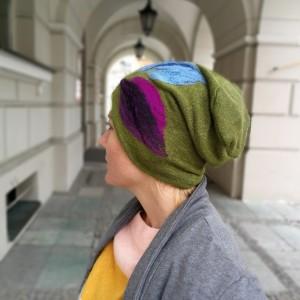 czapka wełniana filcowana zielona na podszewce