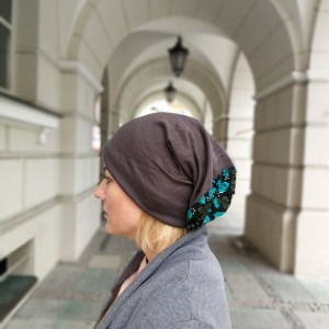 czapka ciepła miękka długa boho handmade