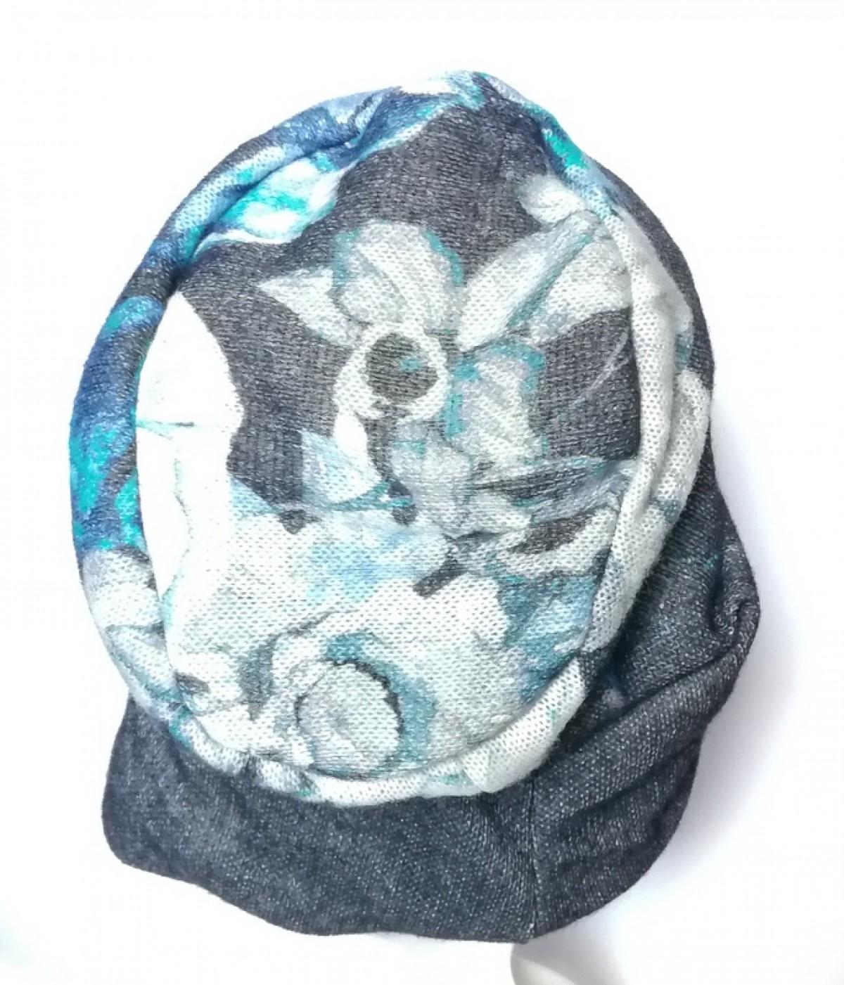 czapka ciepła miękka kwiaty boho handmade