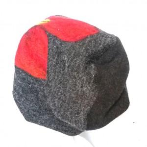 czapka wełniana filcowana szara melanż na podszewce