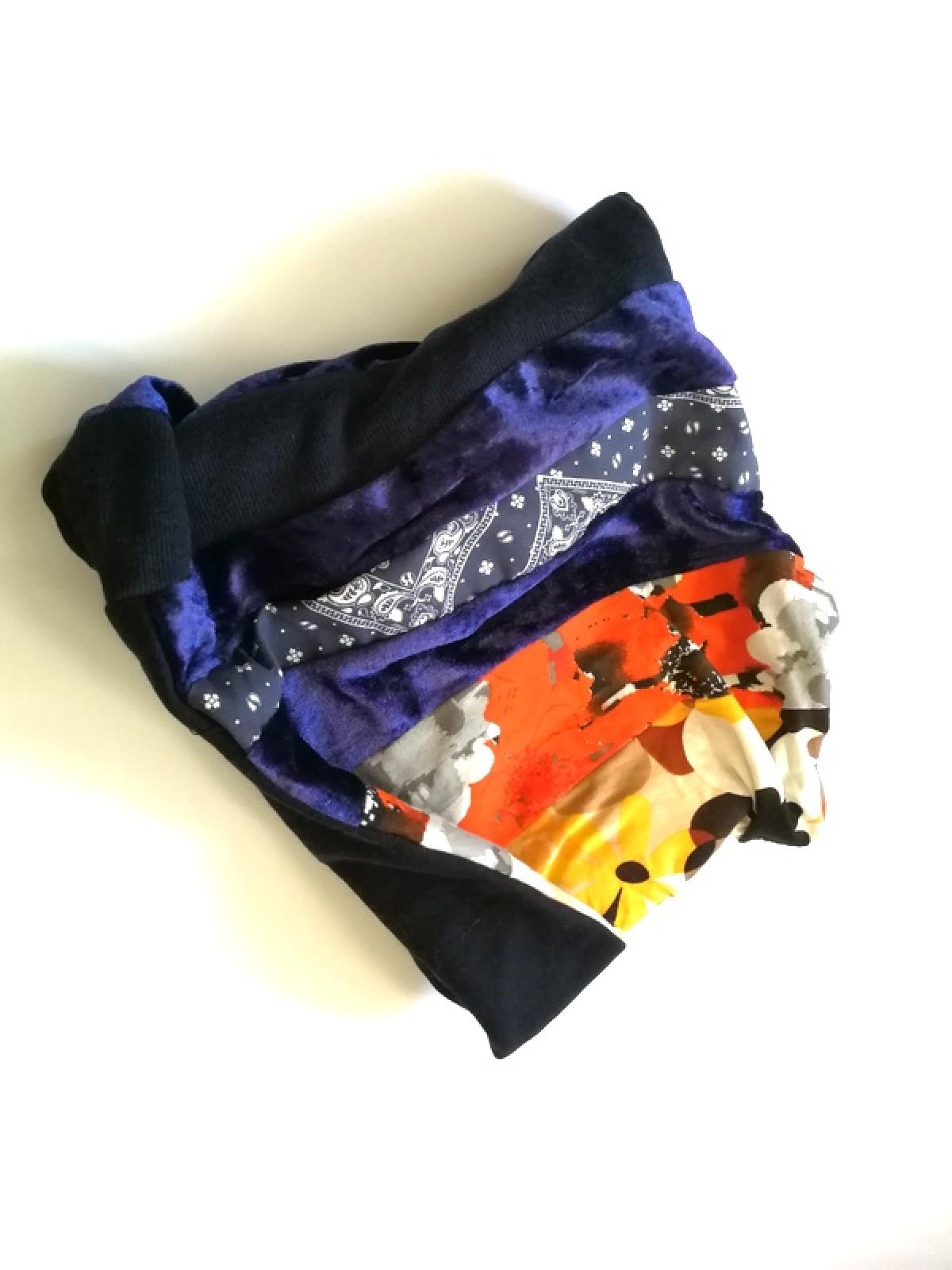 kolorowy patchworkowy komin etno boho dzianina wzory