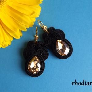 Małe Czarny & Złoty Kryształek kolczyki sutasz