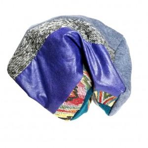 czapka patchworkowa boho tkanina wełna  dzianina handamade długa (Kopia)