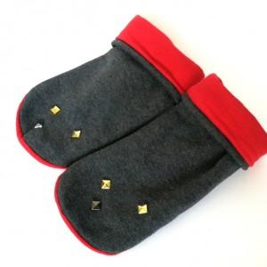 mitenki rękawiczki dzianinowe ćwieki handmade