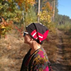 czapka damska dresówka patchwork grochy paski