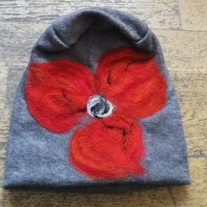 czapka wełniana filcowana szara zimowa handmade boho