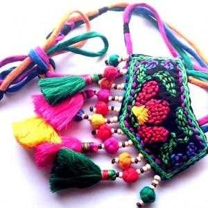 naszyjnik handmade etniczny sznurkowy