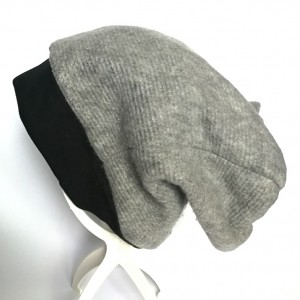 czapka unisex dzianina szara zimowa miękka handmade