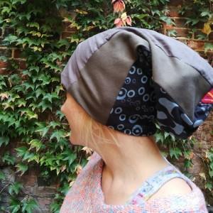 czapka damska dresówka patchwork kolorowa etno