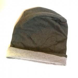 czapka szara dzianina unisex wywijana handmade