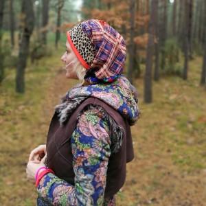 czapka damska długa wiszące smerfetka orientalna boho