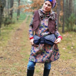 czapka dzianina patchwork retro handmade zimowa