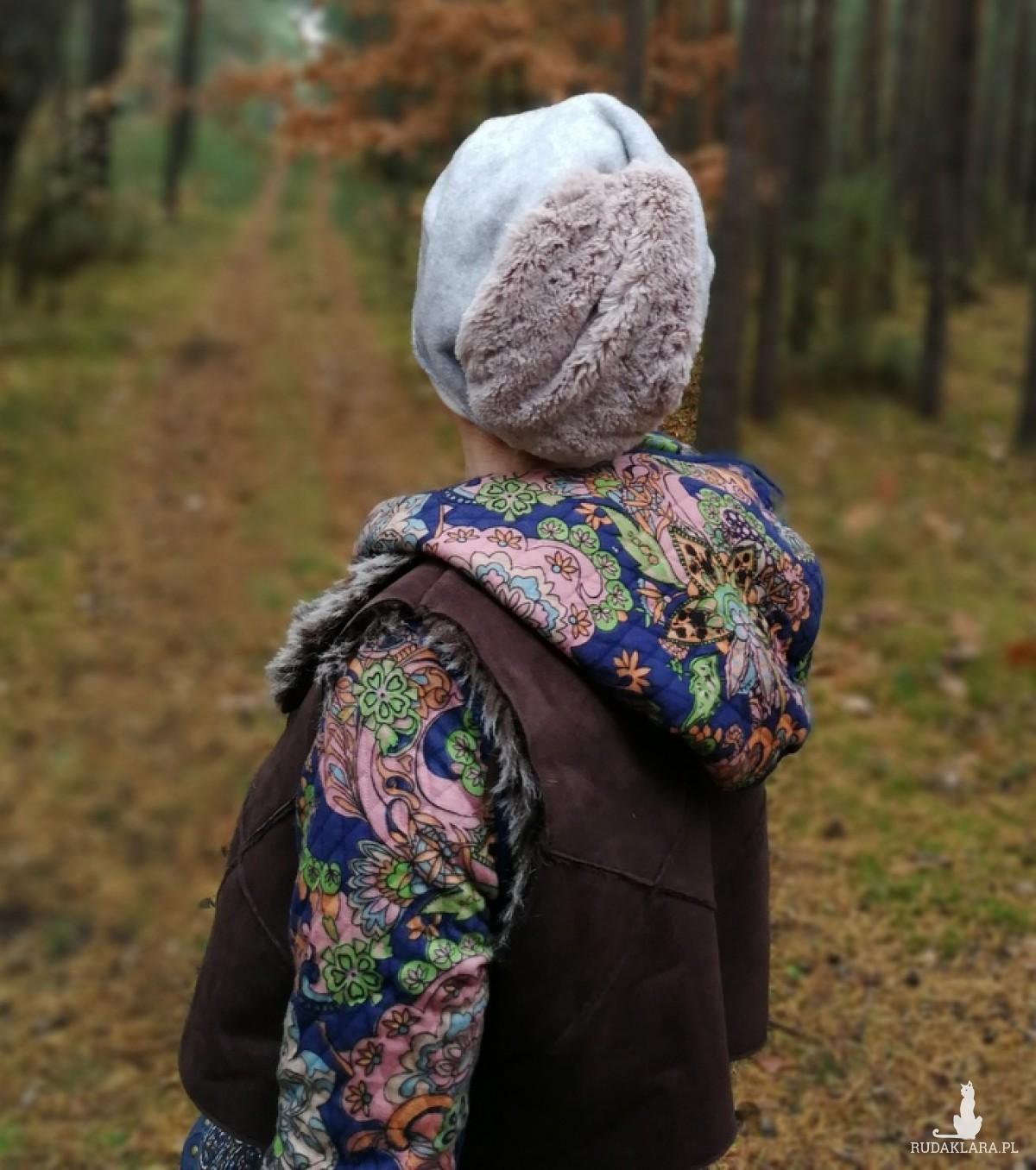 czapka damska szara sztuczne futerko zimowa długa