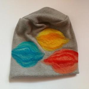 czapka szara wełniana zimowa folkowa boho damska handmade