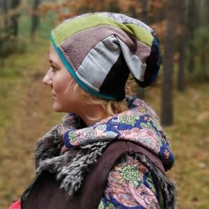 czapka ciepła zimowa damska kolorowa patchworkowa handmade
