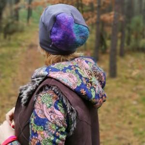 czapka szara ciepła uniwersalna handmade