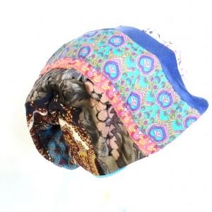 czapka damska patchworkowa boho dresówka