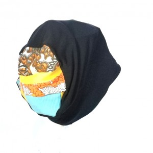 czapka czarna długa patchwork folk handmade