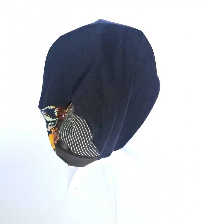 czapka granatowa dzianina patchwork sportowa