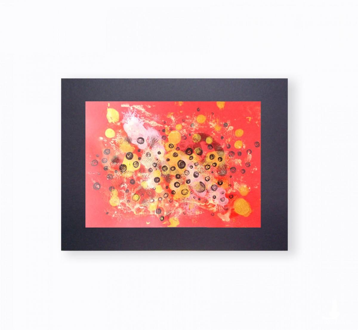 złoto czerwona grafika, czerwono złoty obraz, abstrakcja do loftu, minimalizm grafika na ścianę