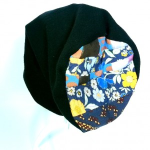 czapka czarna dzianina patchwork zimowa handmade