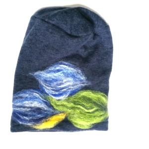 czapka granatowa  wełniana damska etno boho filc