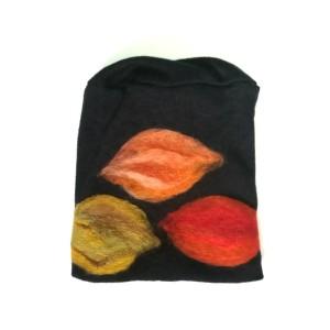czapka czarna wełniana handmade na podszewce