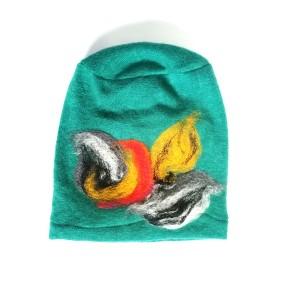 czapka turkusowa wełniana handmade na podszewce