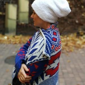 czapka biała futerko miś zimowa śnieżka ciepła