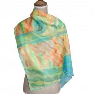 Jedwabna chusta ręcznie malowana Letni pejzaż