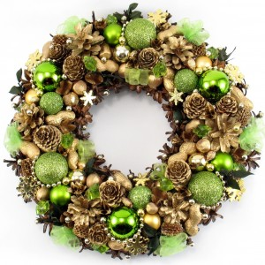 Zielono-złoty wianek bożonarodzeniowy