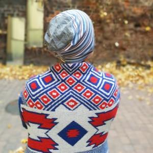 czapka męska damska handmade sportowa w paski