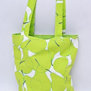 Torba na zakupy, torba shopperka, torba szoperka, eko siatka na zakupy gruszki ziel