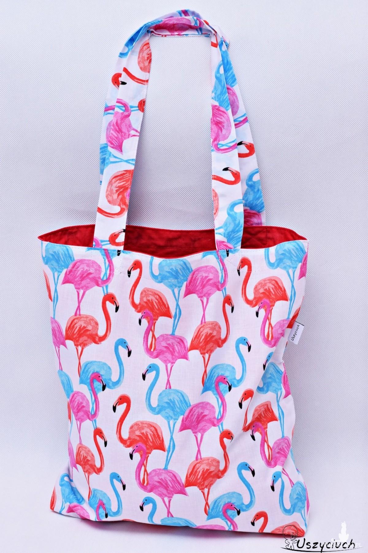 Torba na zakupy, torba shopperka, torba szoperka, eko siatka na zakupy flamingi z czerwonym