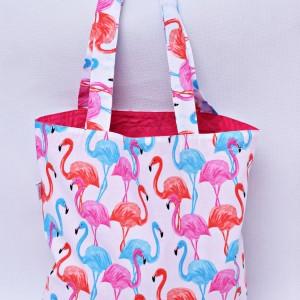 Torba na zakupy, torba shopperka, torba szoperka, eko siatka na zakupy flamingi z różowym