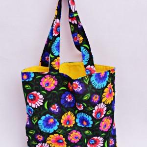 Torba na zakupy, torba shopperka, torba szoperka, eko siatka na zakupy czarny łowicz z żółtym, torba łowicka