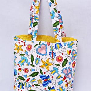 Torba na zakupy, torba shopperka, torba szoperka, eko siatka na zakupy kaszubska z żółtym, torba ludowa kaszubska