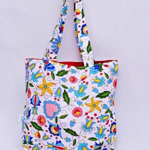 Torba na zakupy, torba shopperka, torba szoperka, eko siatka na zakupy kaszubska z czerwonym, torba ludowa kaszubska